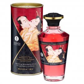 Разогревающее масло Shunga APHRODISIAC WARMING OIL - Sparkling Strawberry Wine (100 мл)